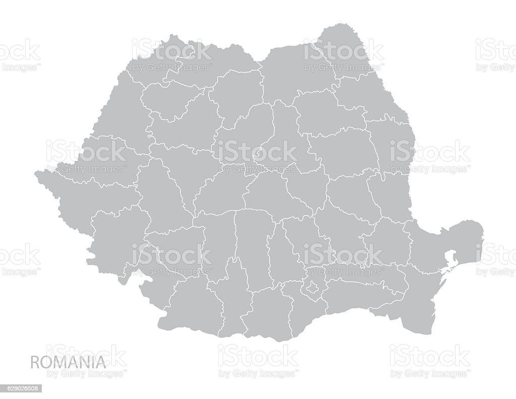 Map of Romania vector art illustration