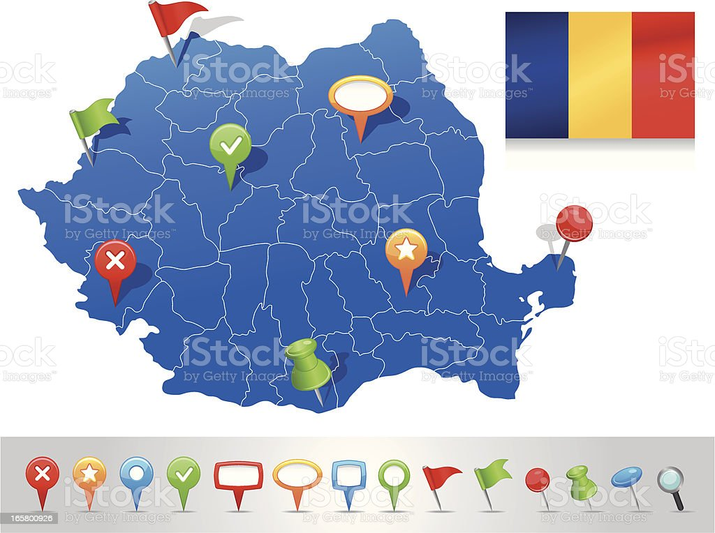 Map of Romania with navigation icons royalty-free stock vector art