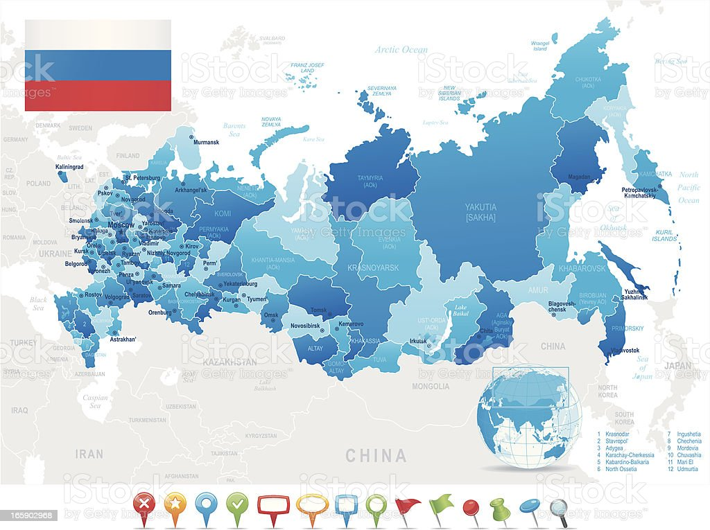 Map of Russia - states, cities, flag, navigation icons vector art illustration