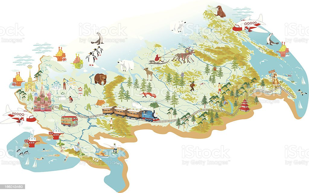 Map of Russia vector art illustration