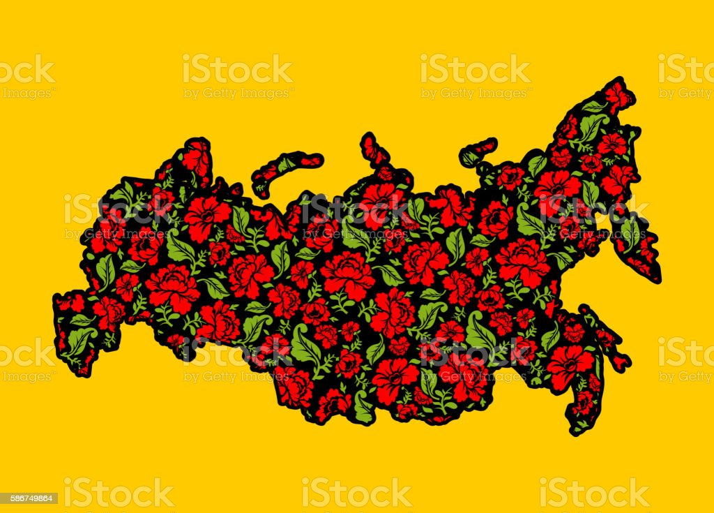 Map of Russian Khokhloma. Traditional Russian floral pattern. St vector art illustration