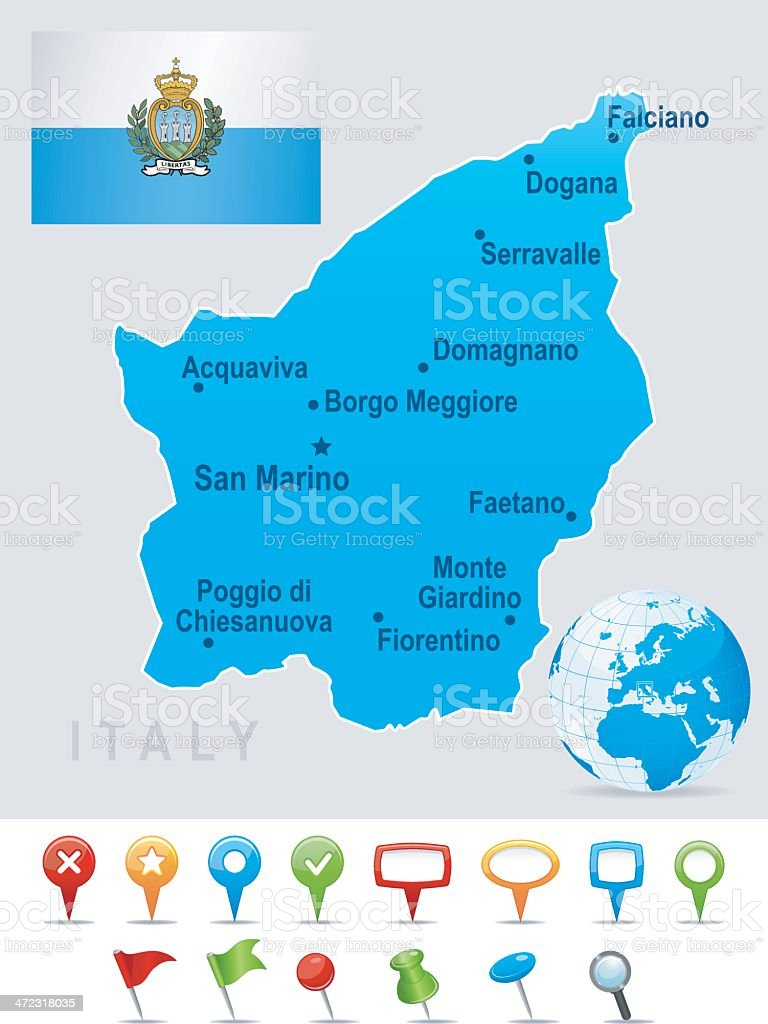 Map of San Marino - cities, flag and icons royalty-free stock vector art