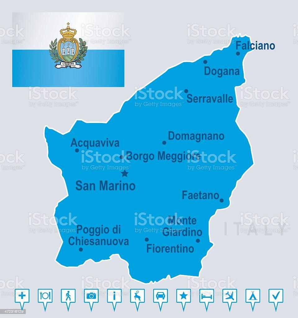 Map of San Marino - cities, flag, navigation icons royalty-free stock vector art