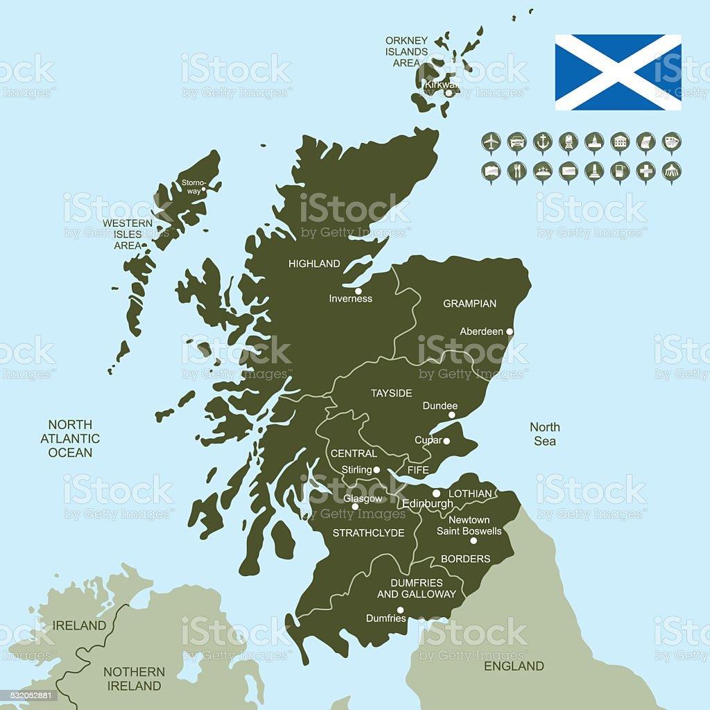 Map of Scotland vector art illustration