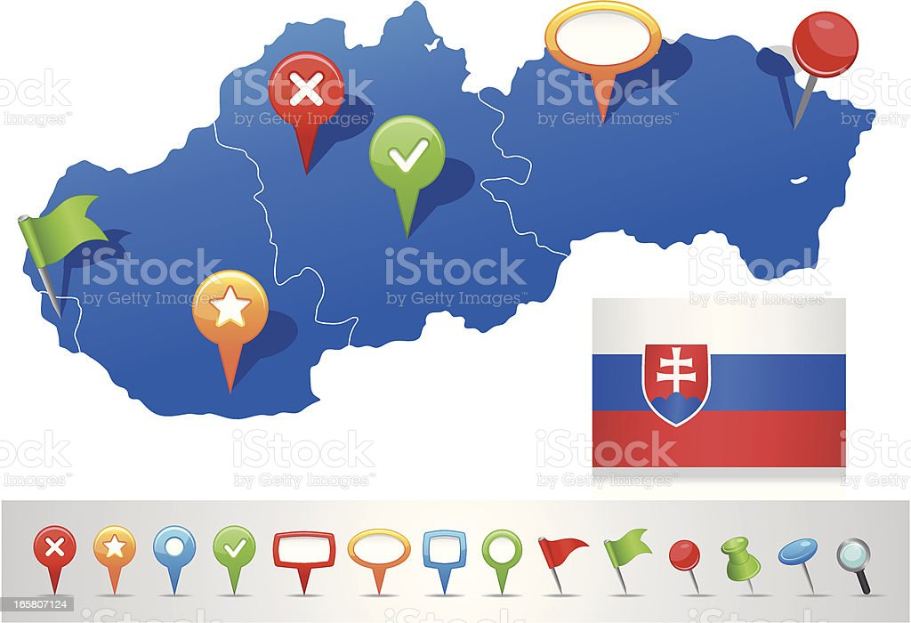 Map of Slovakia with navigation icons royalty-free stock vector art