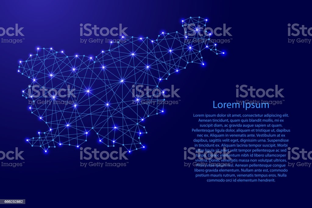 Map of Slovenia from polygonal blue lines and glowing stars vector illustration vector art illustration