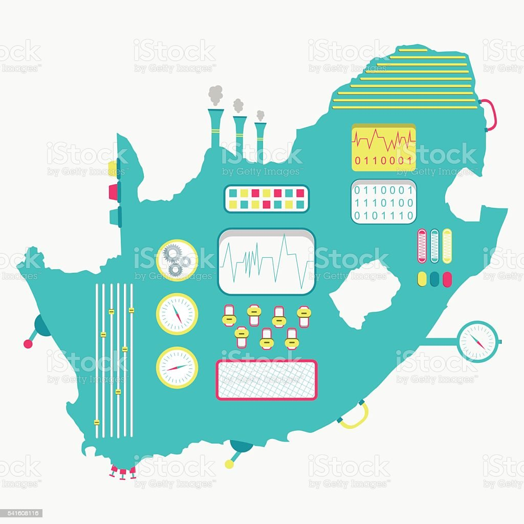 Map of South Africa machine vector art illustration
