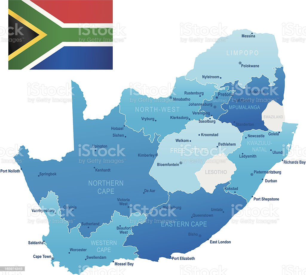 Map of South Africa - states, cities and flag royalty-free stock vector art