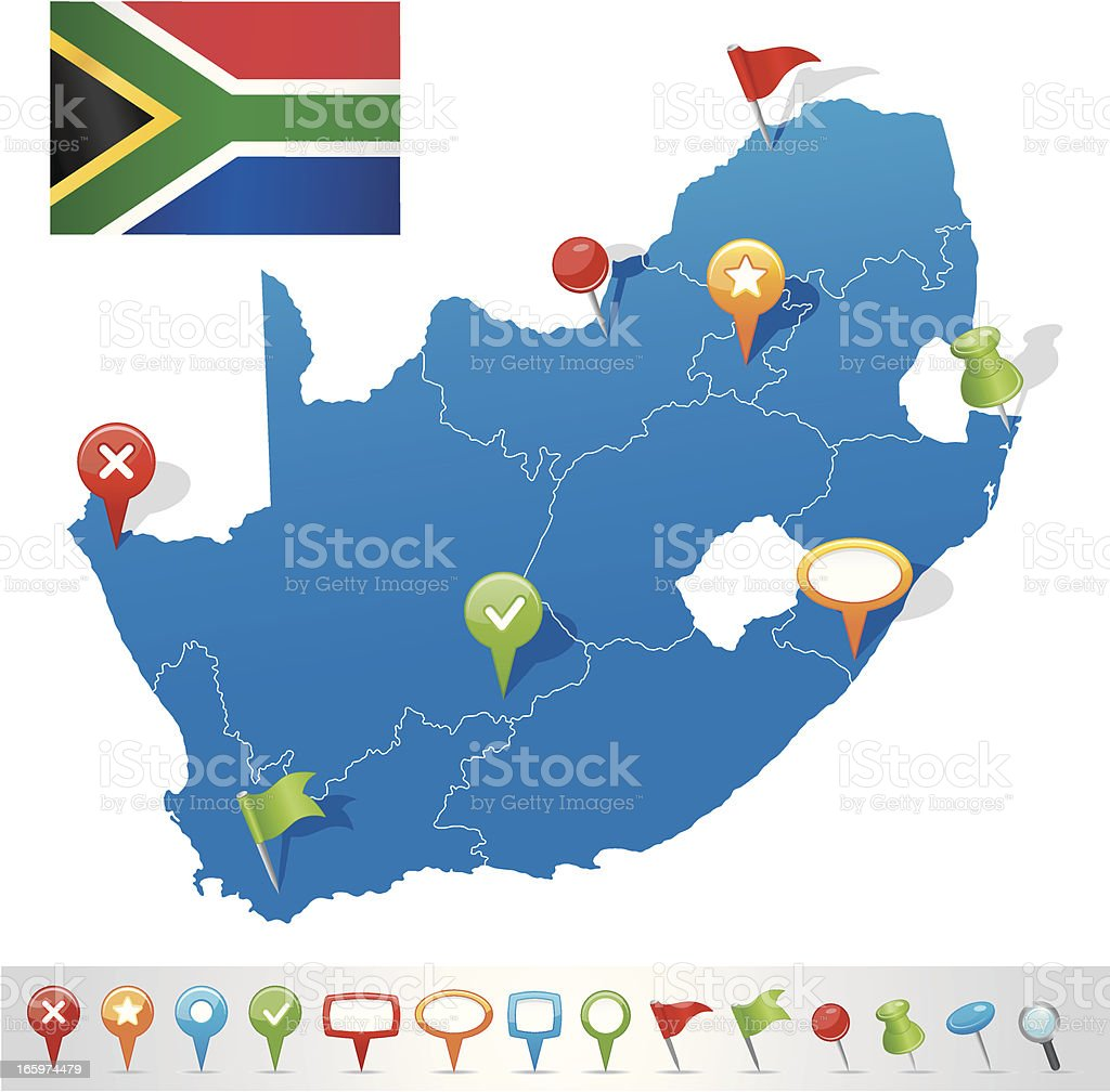 Map of South African Republic with navigation icons vector art illustration