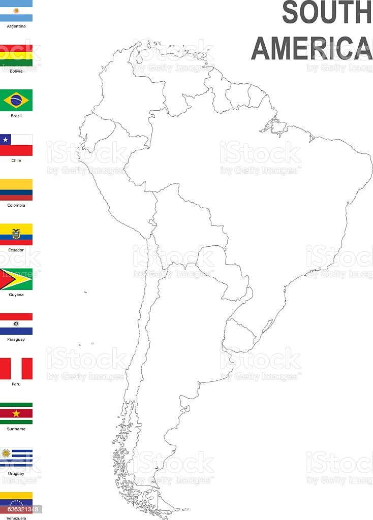 map of South America with flag against white background vector art illustration