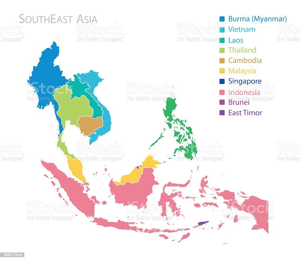 Map of Southeast Asia vector art illustration