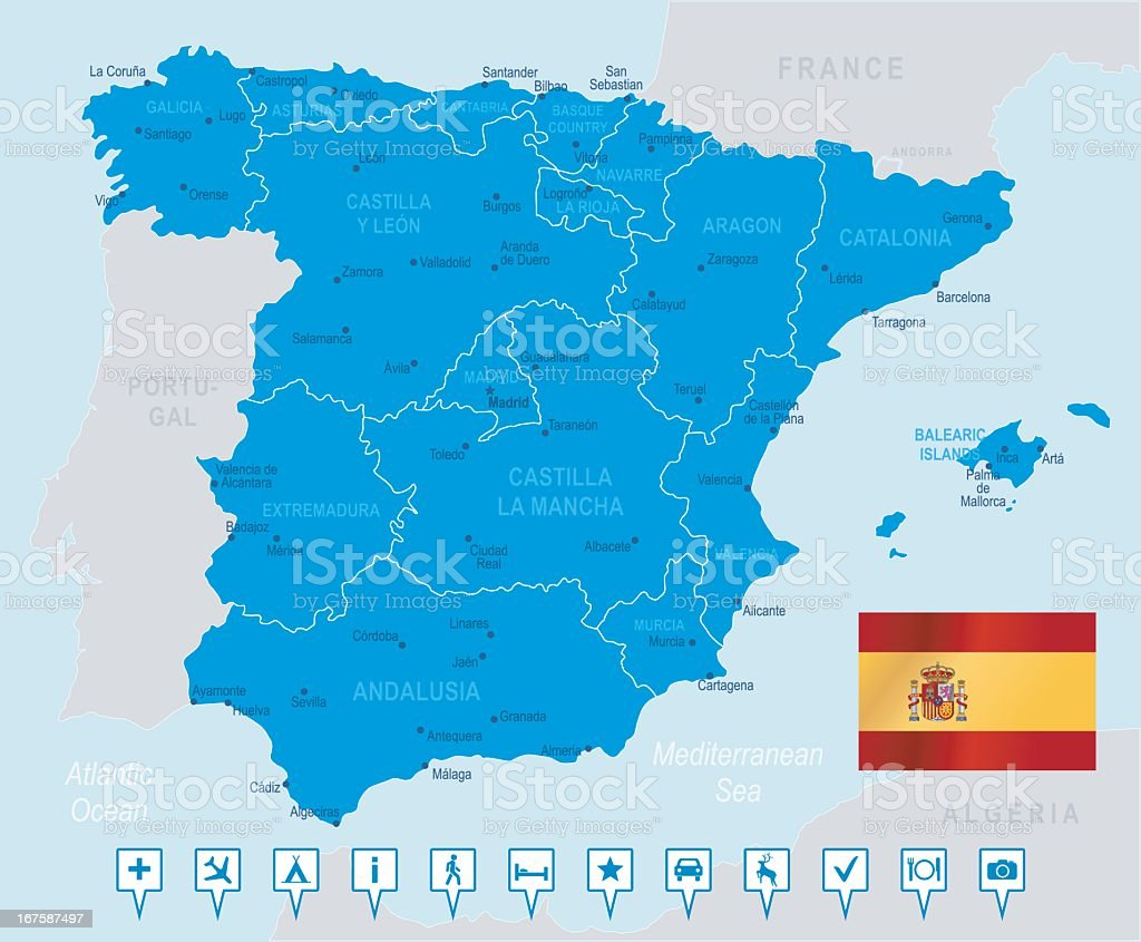Map of Spain in blue on light blue background royalty-free stock vector art