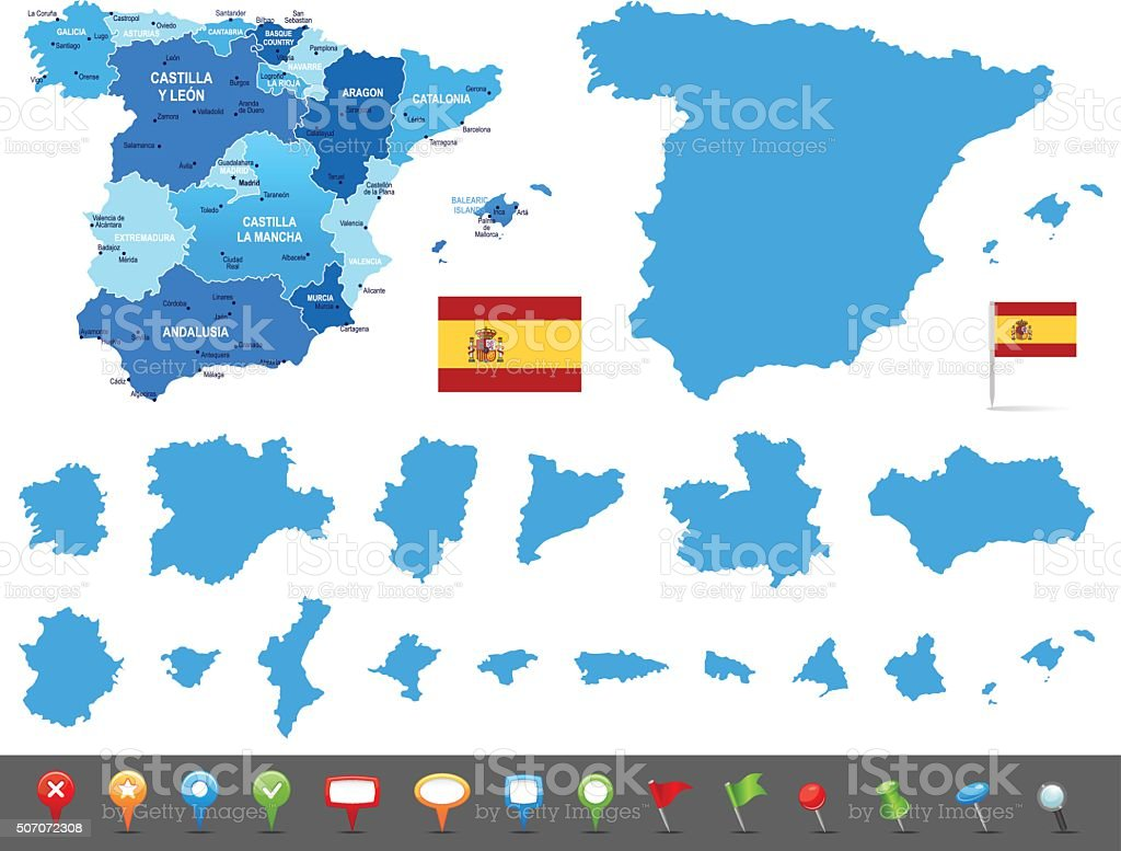 Map of Spain - states, cities and navigation icons vector art illustration