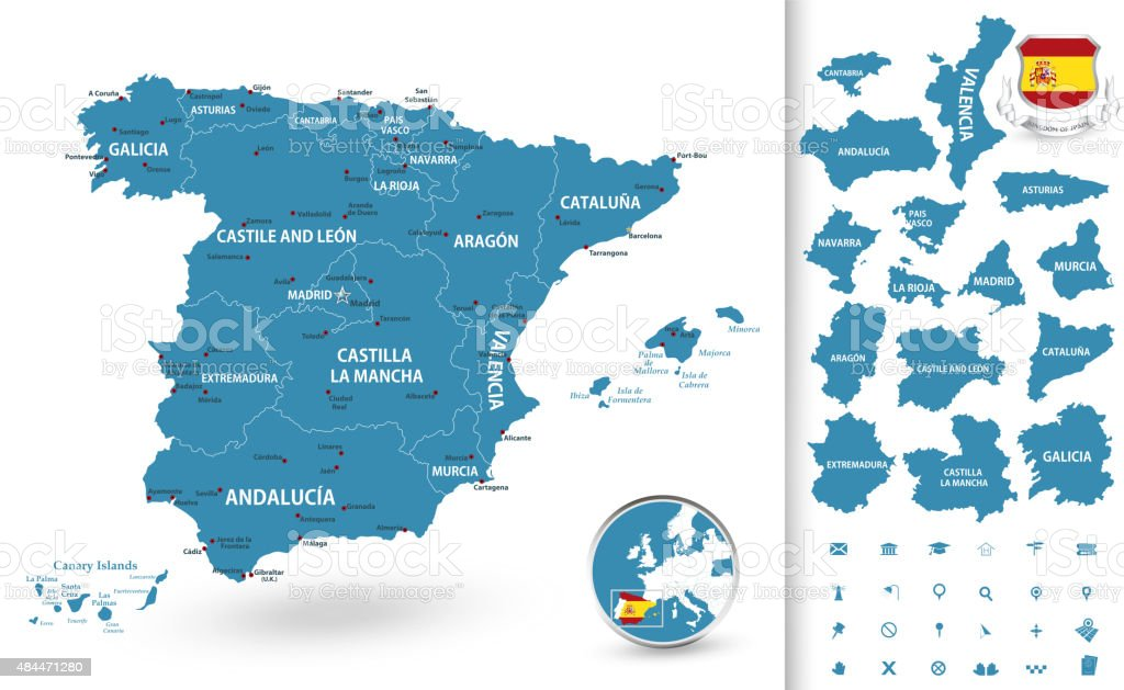 Map of Spain with regions vector art illustration