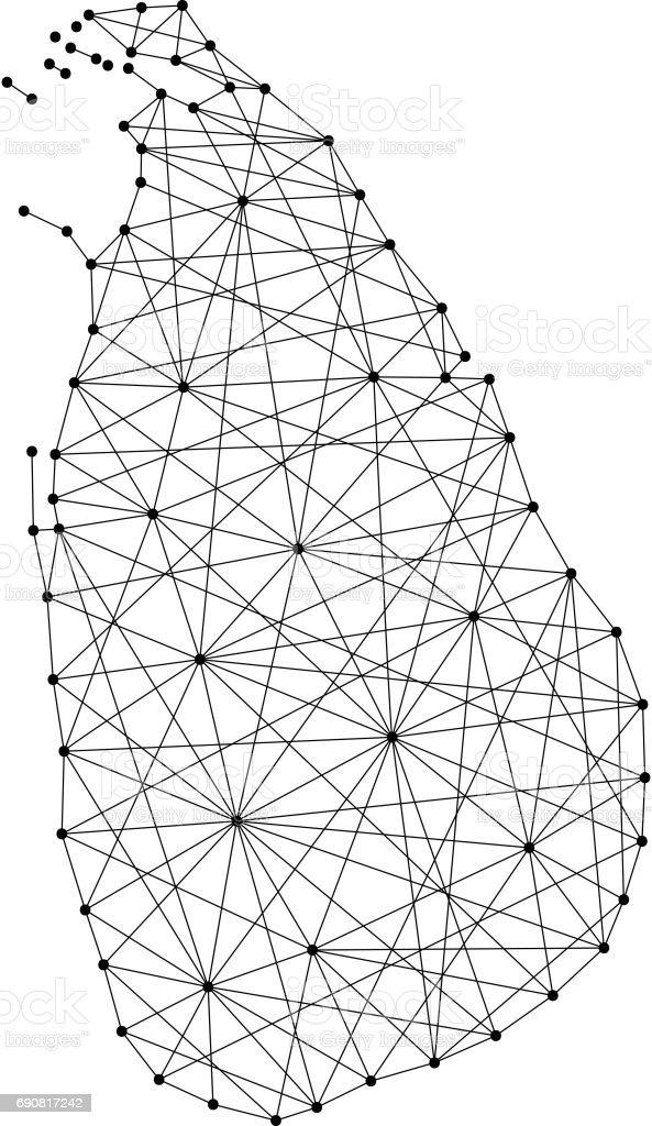 Map of Sri Lanka from polygonal black lines and dots of vector illustration vector art illustration
