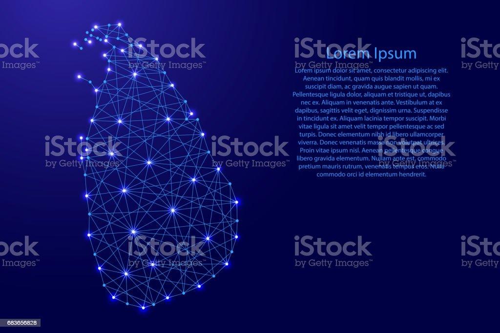 Map of Sri Lanka from polygonal blue lines and glowing stars vector illustration vector art illustration