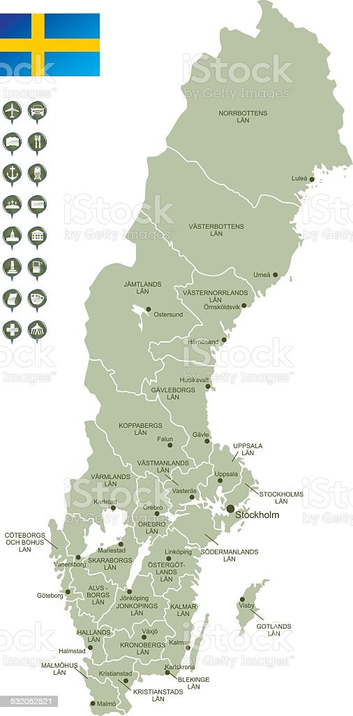 Map of Sweden vector art illustration