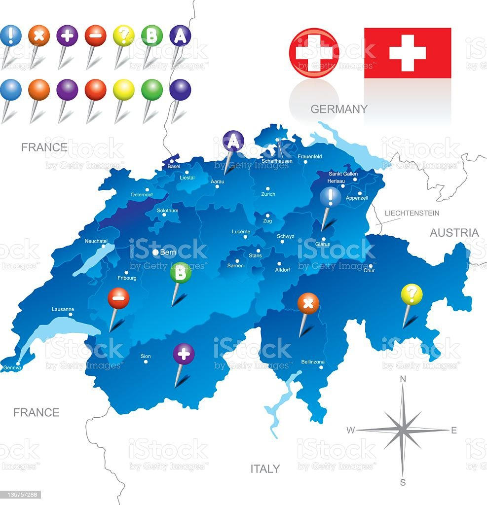 A map of Switzerland and surrounding areas royalty-free stock vector art