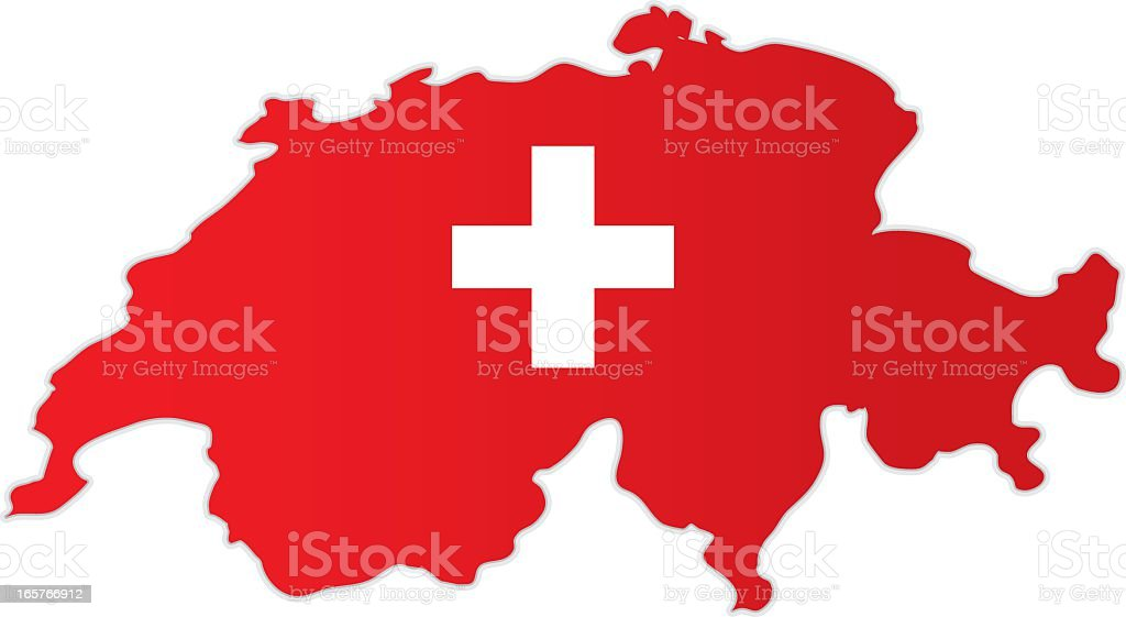 Map of Switzerland combined with the flag vector art illustration