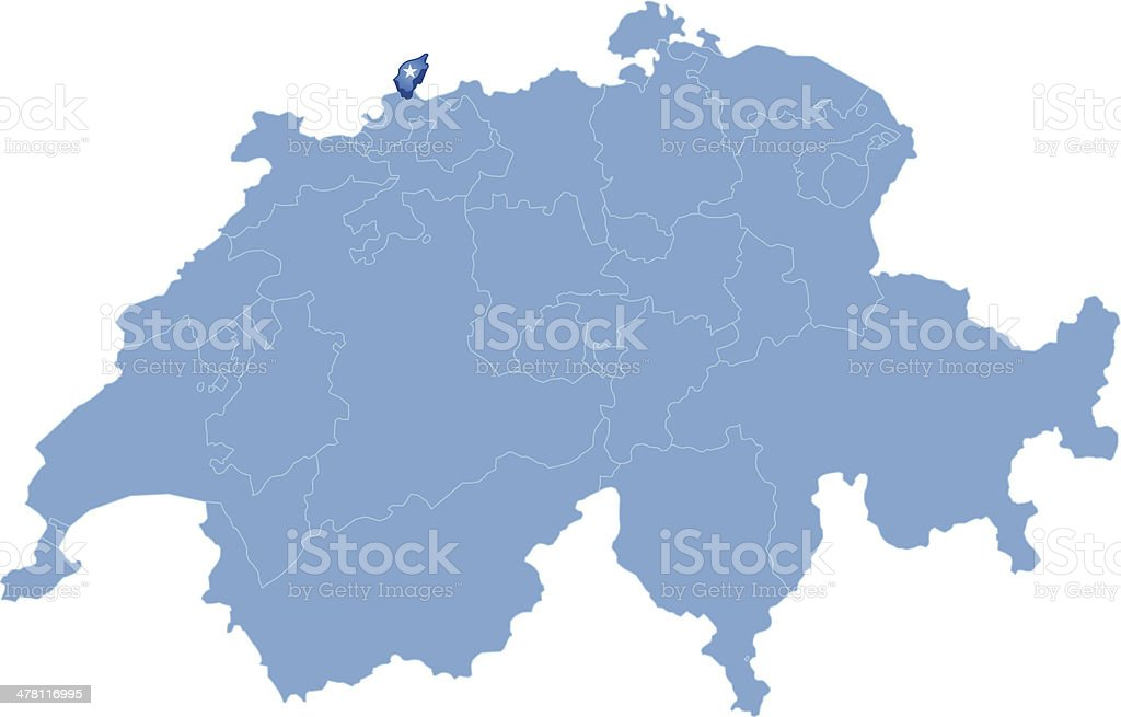 Map of Switzerland where Basel - Stadt is pulled out vector art illustration