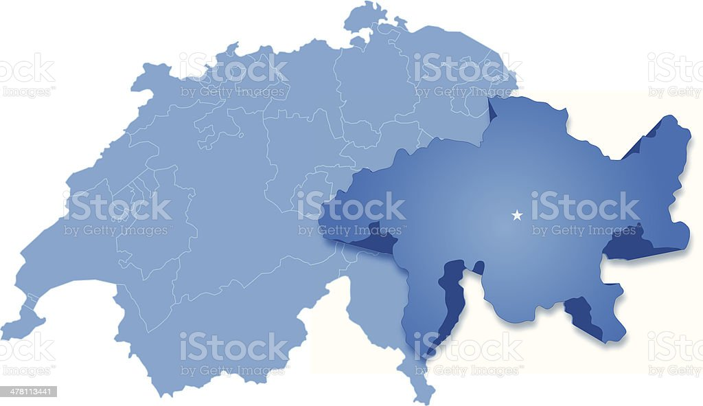 Map of Switzerland where Graubunden-Grisons is pulled out vector art illustration