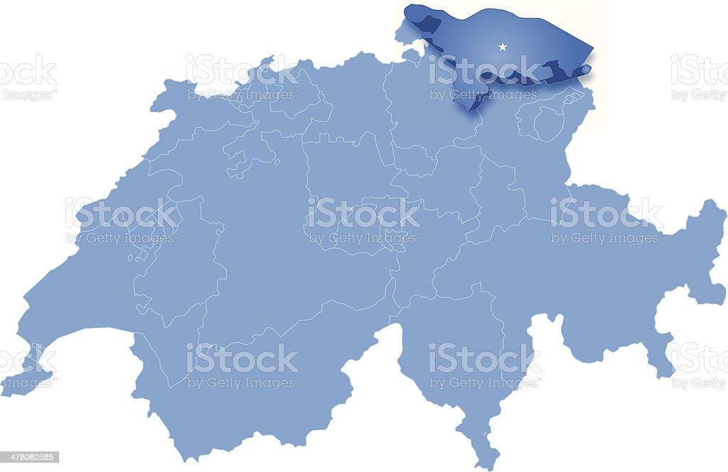 Map of Switzerland where Thurgau is pulled out vector art illustration