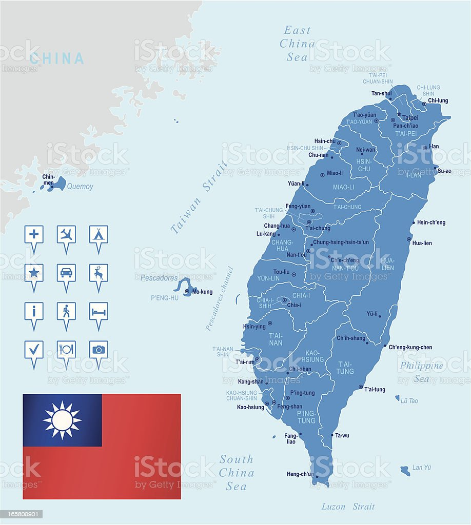 Map of Taiwan - states, cities, flag and navigation icons vector art illustration