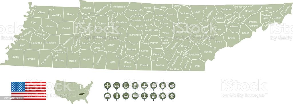 Map of Tennessee vector art illustration