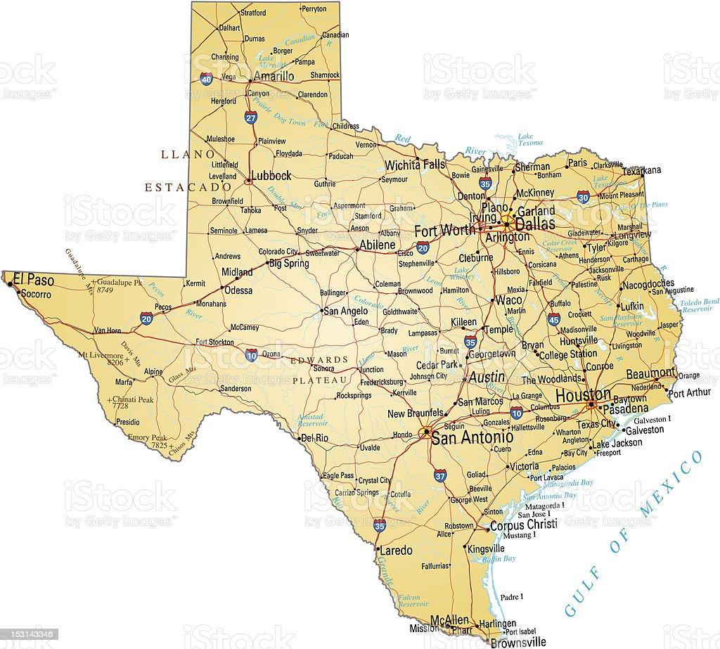 Map of Texas vector art illustration
