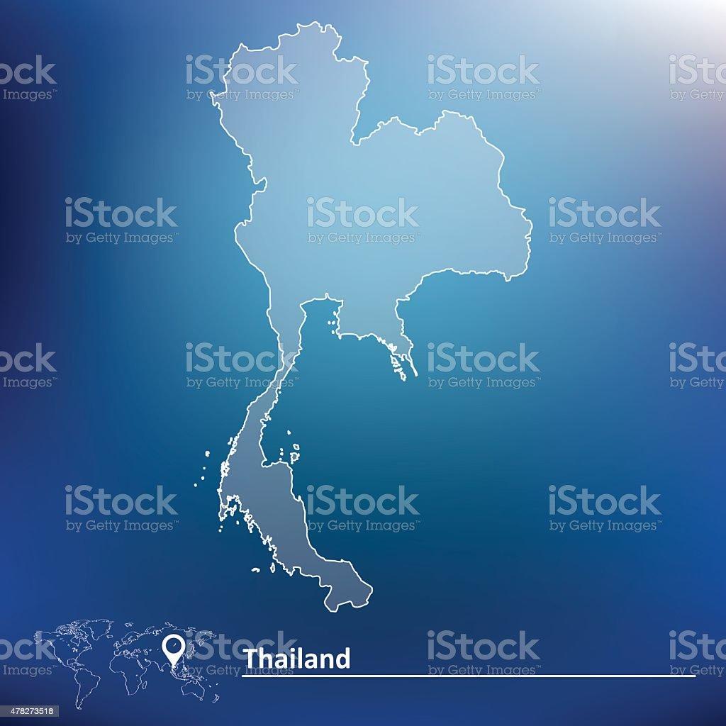 Map of Thailand vector art illustration