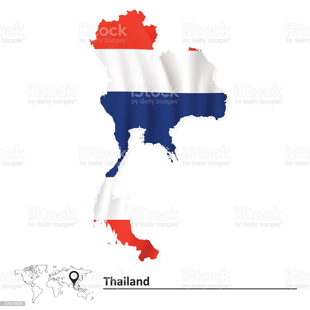 Map of Thailand with flag vector art illustration
