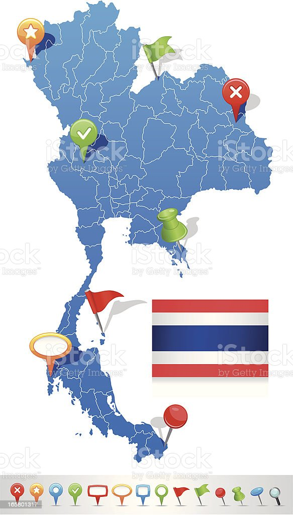 Map of Thailand with navigation icons royalty-free stock vector art