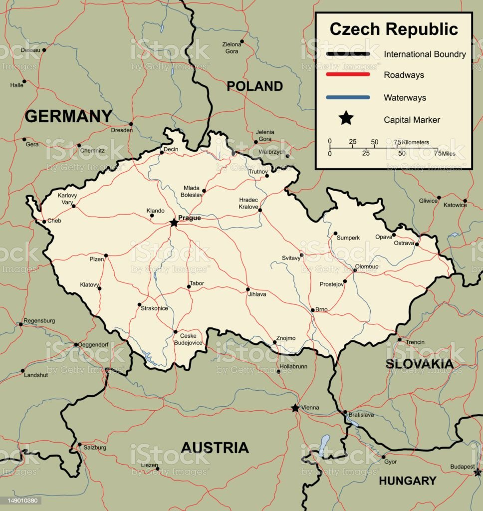 Map of the Czech Republic vector art illustration