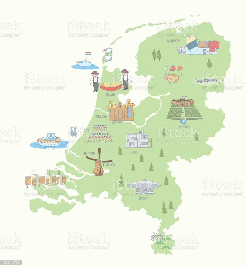 Map of the Netherlands sights vector art illustration