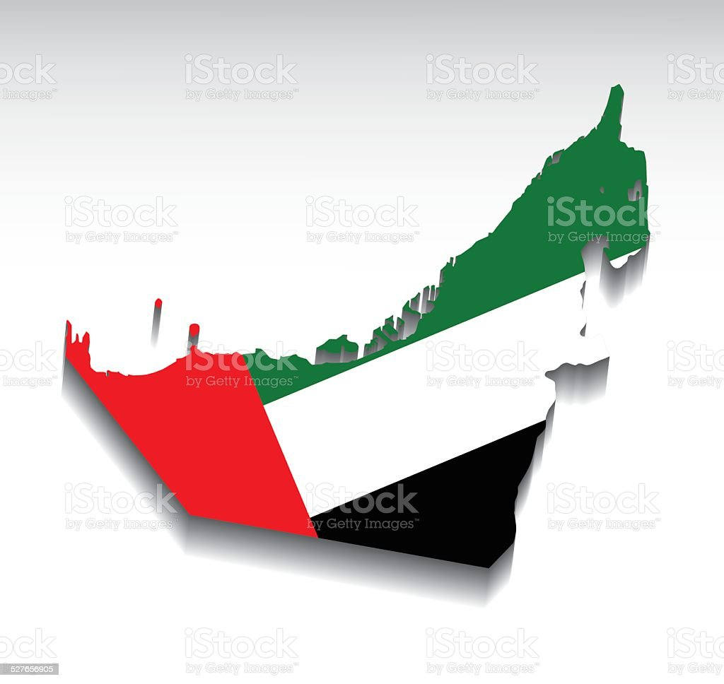 Map of the United Arab Emirates with flag colors. vector art illustration