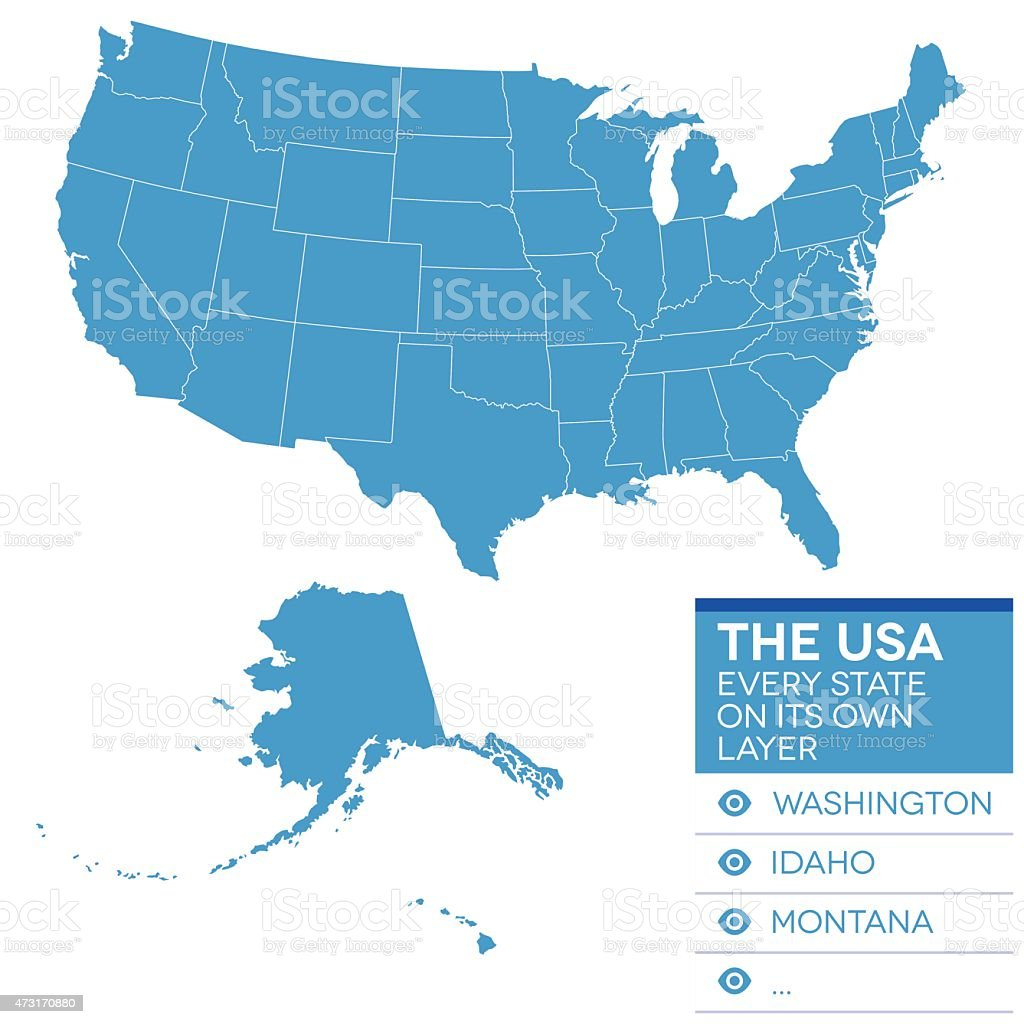 Map of the United States of America in blue over white vector art illustration
