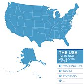 Map of the United States of America in blue over white