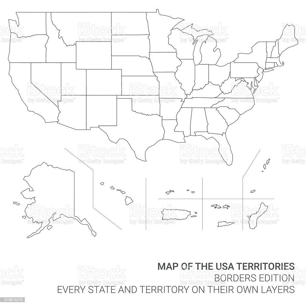 Map of the United States of America Territories vector art illustration