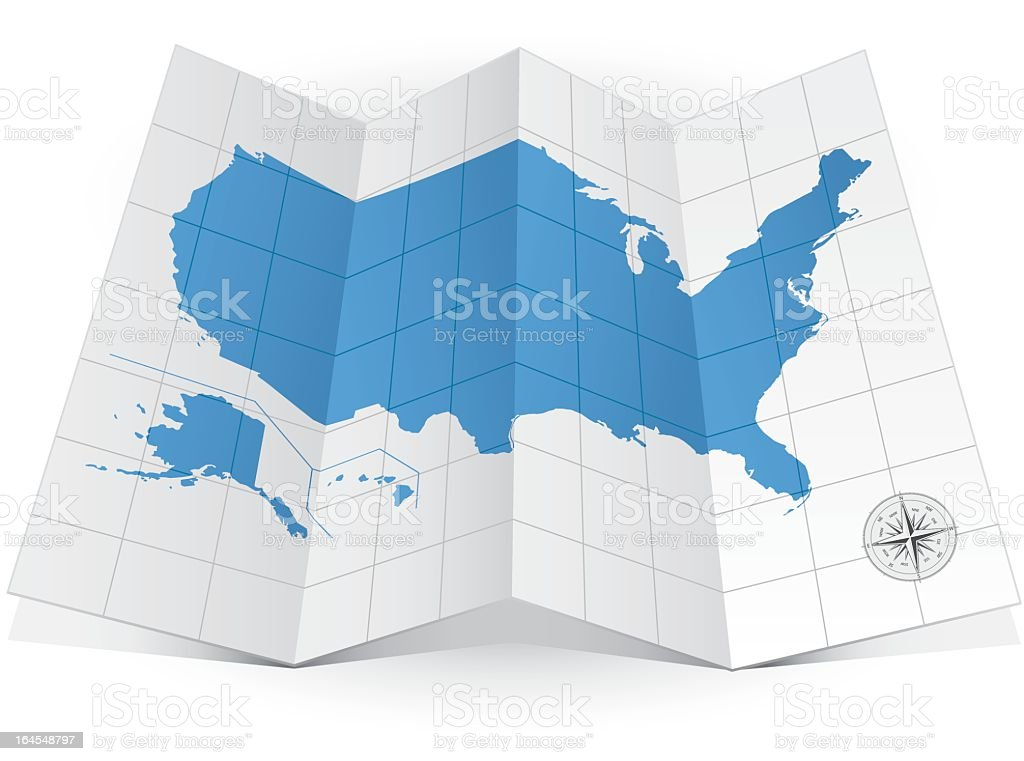 Map Of The United States On A Graphical Piece Of Paper In D Stock - 3d us map