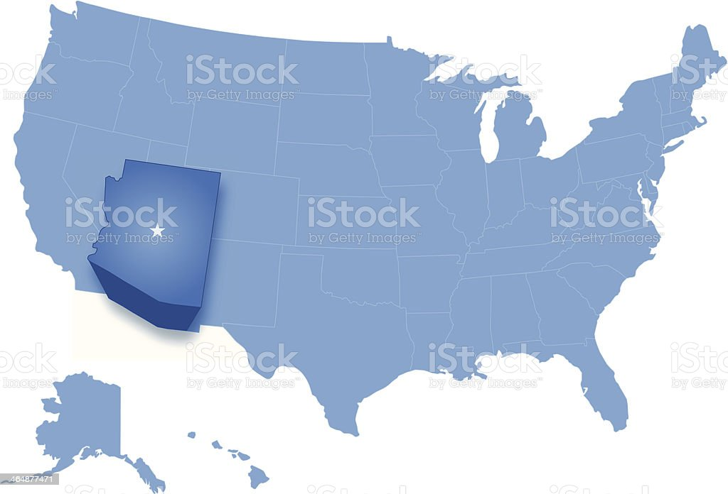 Map of the United States where Arizona is pulled out royalty-free stock vector art