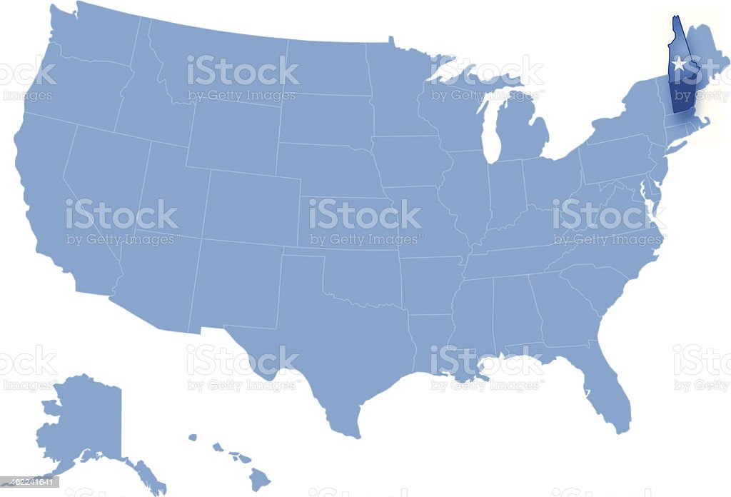 Map of the United States where New Hampshire pulled out vector art illustration