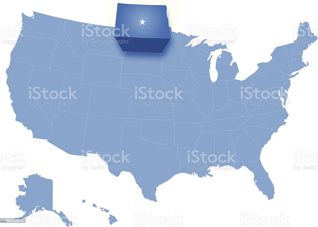 Map of the United States where North Dakota is pulled vector art illustration