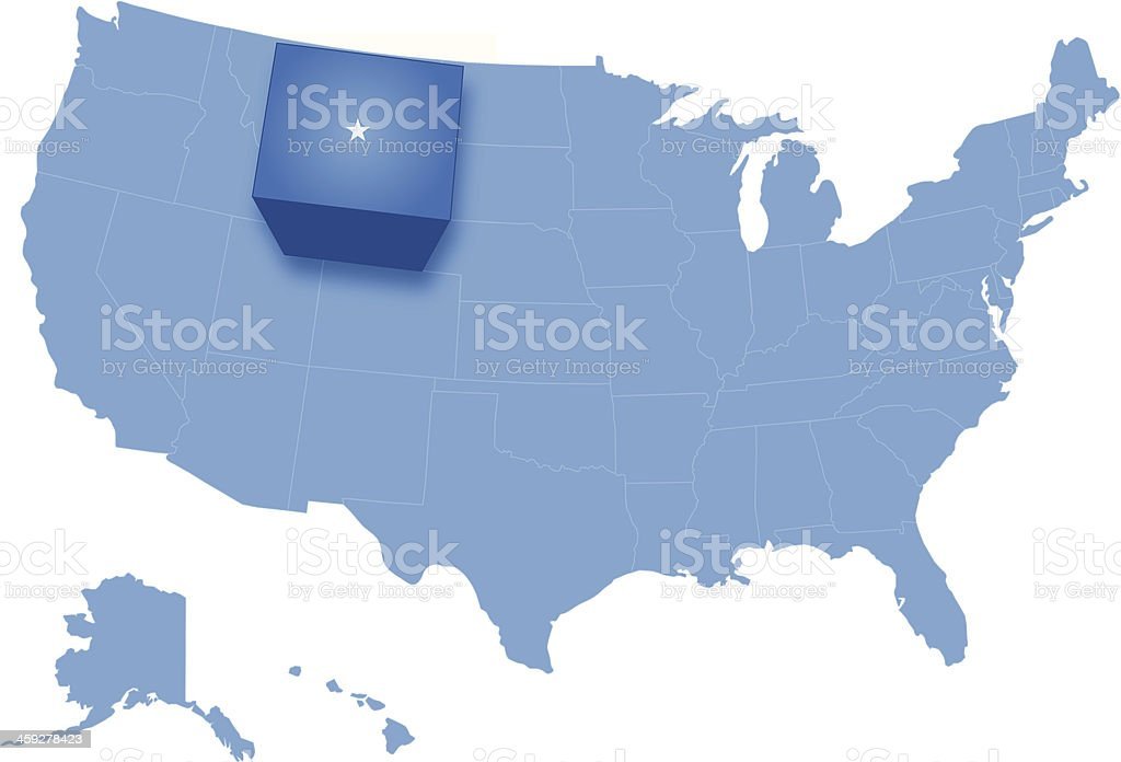 Map of the United States where Wyoming is pulled out royalty-free stock vector art