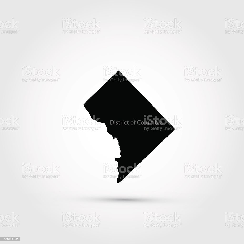A map of the US District of Columbia vector art illustration