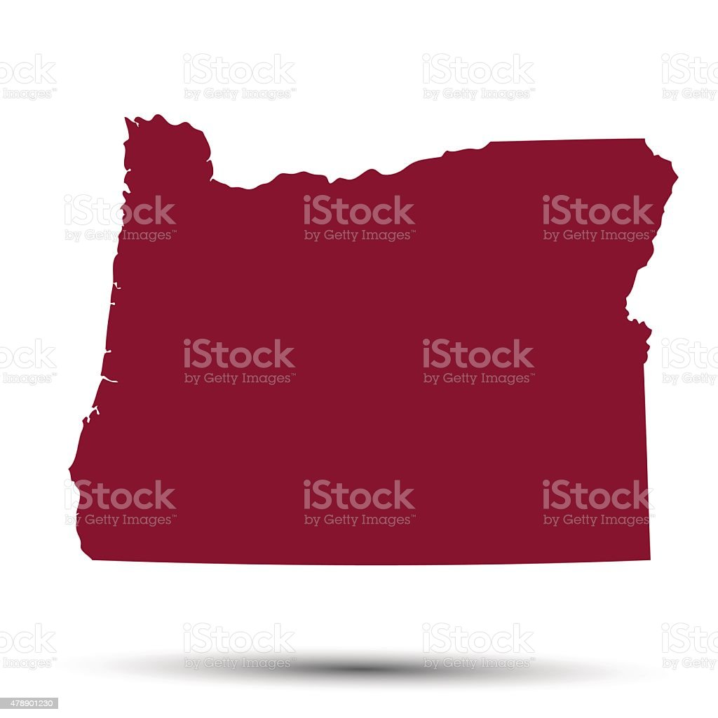 Map of the U.S. state of Oregon vector art illustration
