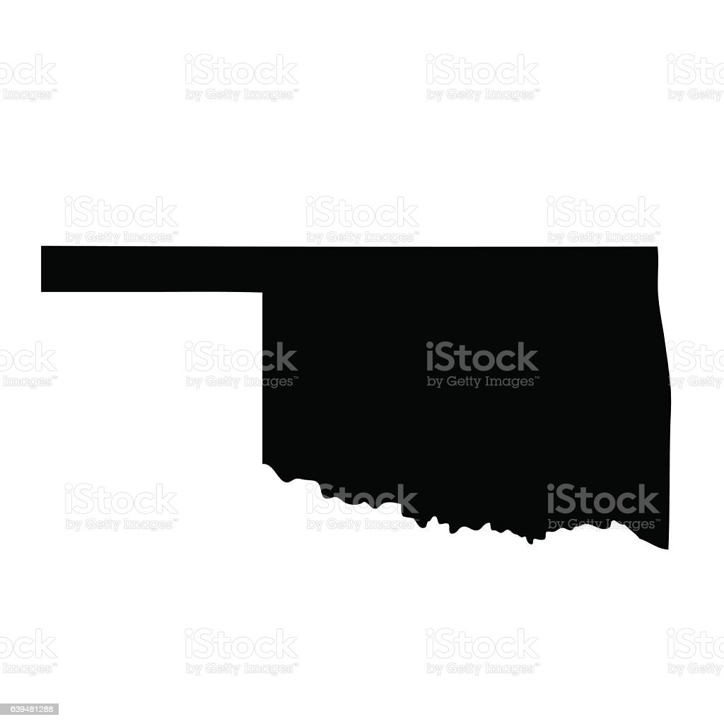 map of the U.S. state Oklahoma vector art illustration