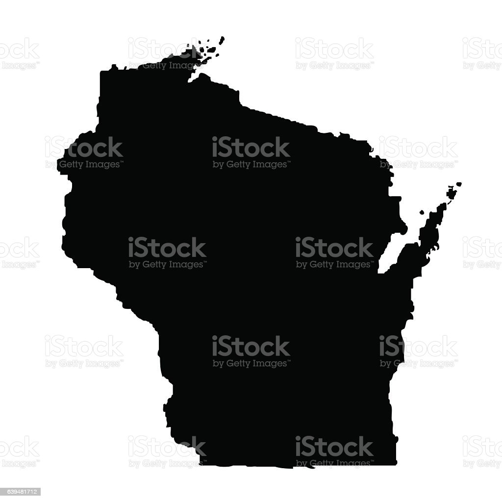map of the U.S. state Wisconsin vector art illustration