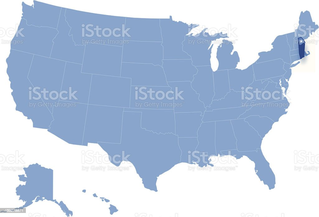 Map Of The Us Where Rhode Island Is Pulled Out Stock Vector Art - Where is rhode island