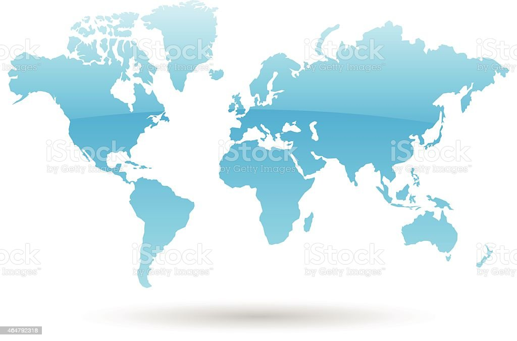 Map of the world in blue with a white background vector art illustration