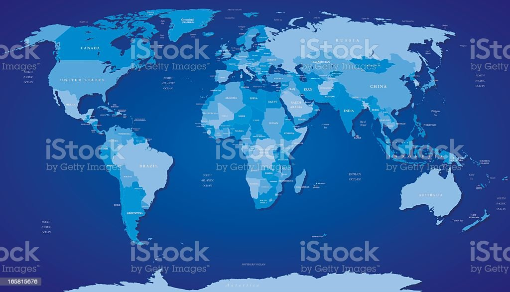 A map of the world in various shades of blue royalty-free stock vector art